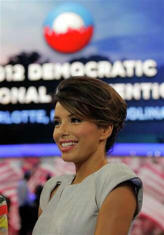 Actress Eva Longoria is interviewed on the floor of the Democratic National Convention in Charlotte, N.C., Thursday, Sept. 6, 2012. Photo: Charles Dharapak, AP / AP