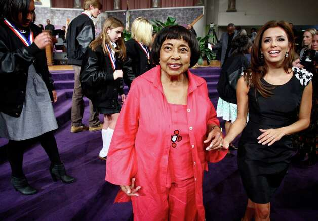 Actress Eva Longoria Parker, right, helps Civil Rights pioneer Dr. Dorothy Cotton from the stage at Temple of Deliverance church following the 2010 Freedom Awards Public Forum, Wednesday, Oct. 6, 2010 in Memphis, Tenn. It's the first year women will receive all three awards since the museum began honoring leaders in civil and human rights in 1991. Photo: Mike Brown, AP / The Commercial Appeal