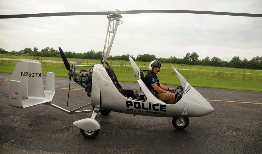 Tomball police officer and pilot Keith Blitz prepares for a training flight in the Tomball Police Department's gyroplane. Photo: David Hopper, Freelance / freelance