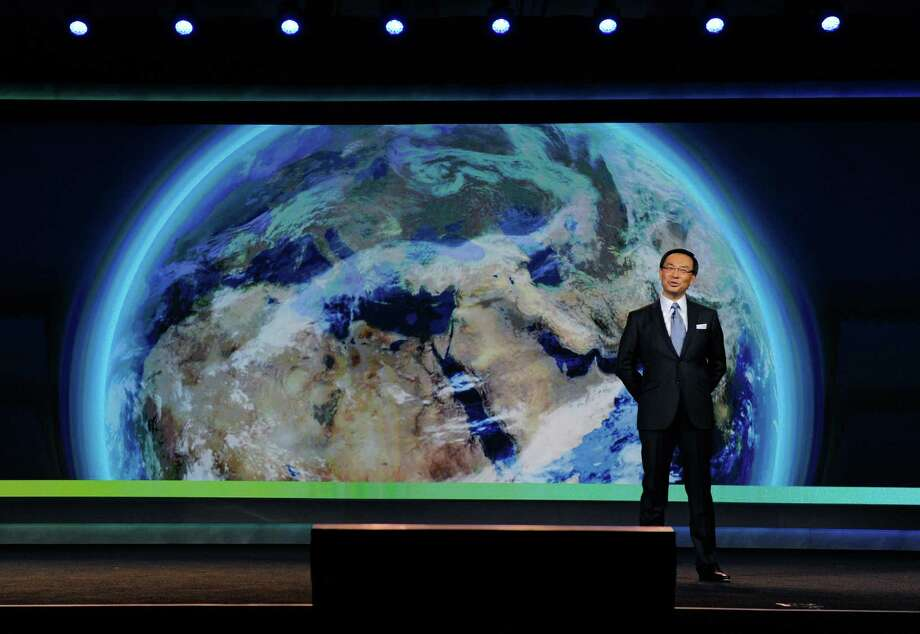 LAS VEGAS, NV - JANUARY 08:  Panasonic Corporation President and CEO Kazuhiro Tsuga speaks during a keynote address at the 2013 International CES at The Venetian on January 8, 2013 in Las Vegas, Nevada. CES, the world's largest annual consumer technology trade show, runs through January 11 and is expected to feature 3,100 exhibitors showing off their latest products and services to about 150,000 attendees. Photo: David Becker, Getty Images / 2013 Getty Images