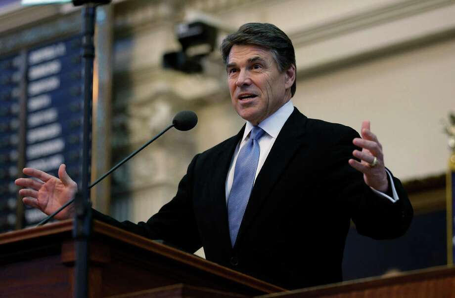 Texas Gov. Rick Perry addresses the opening session of the 83rd Texas Legislature, Tuesday, Jan. 8, 2013, in Austin, Texas. (AP Photo/Eric Gay) Photo: Eric Gay, Associated Press / AP