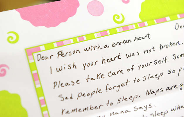 This is a close up of one of the many letters coming into Newtown in support of the victims of the Sandy Hook shootings and their families. Volunteers at the Newtown Municipal Center are sorting through the mail, Tuesday, January 8, 2013. Photo: Carol Kaliff / The News-Times