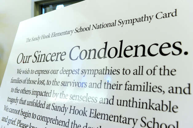 The Sandy Hook Elementary School National Sympathy Card is on display at the Newtown Municipal Center Tuesday, January 8, 2013. Photo: Carol Kaliff / The News-Times