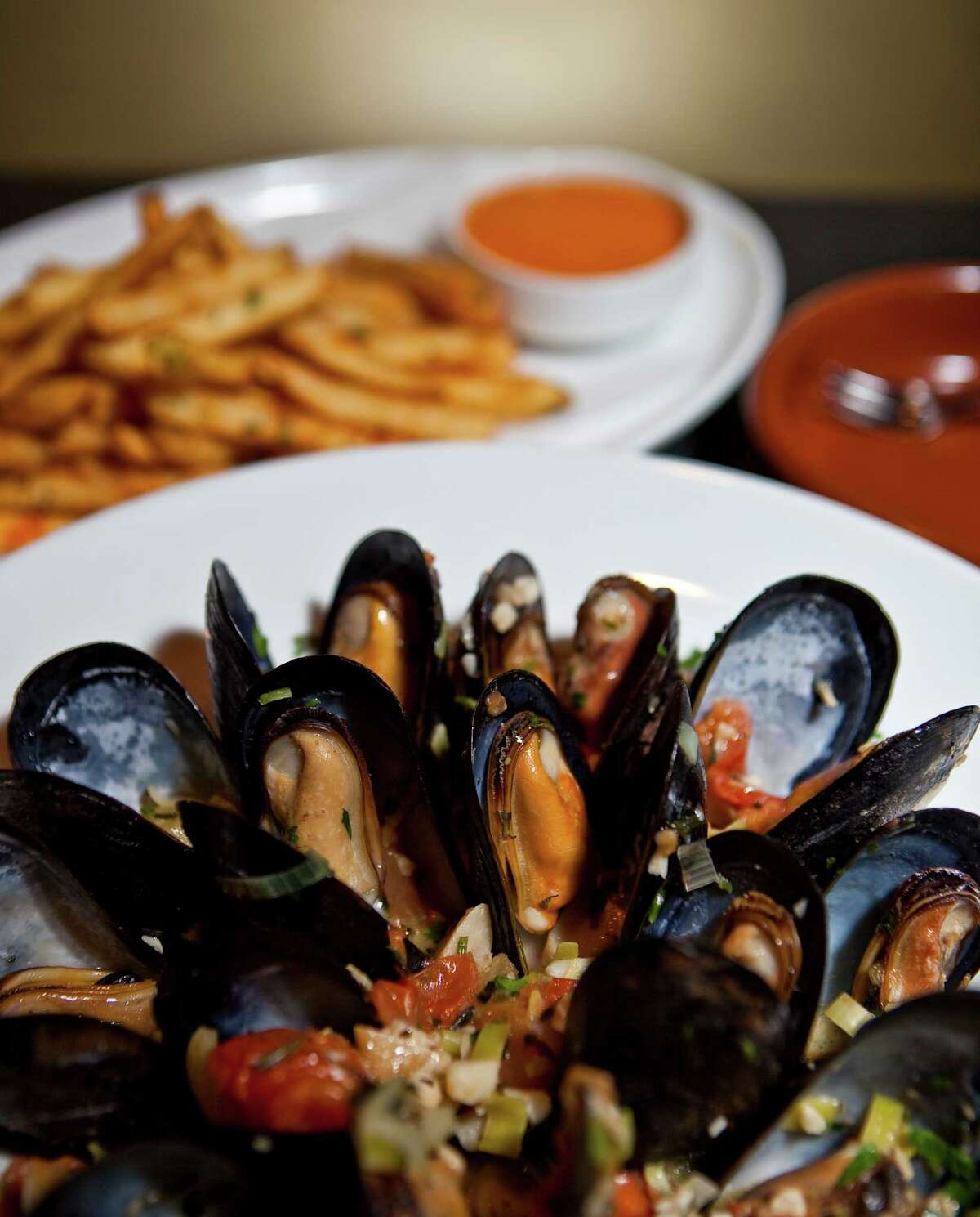 Costa Brava Bistro's steamed mussels and french fries
