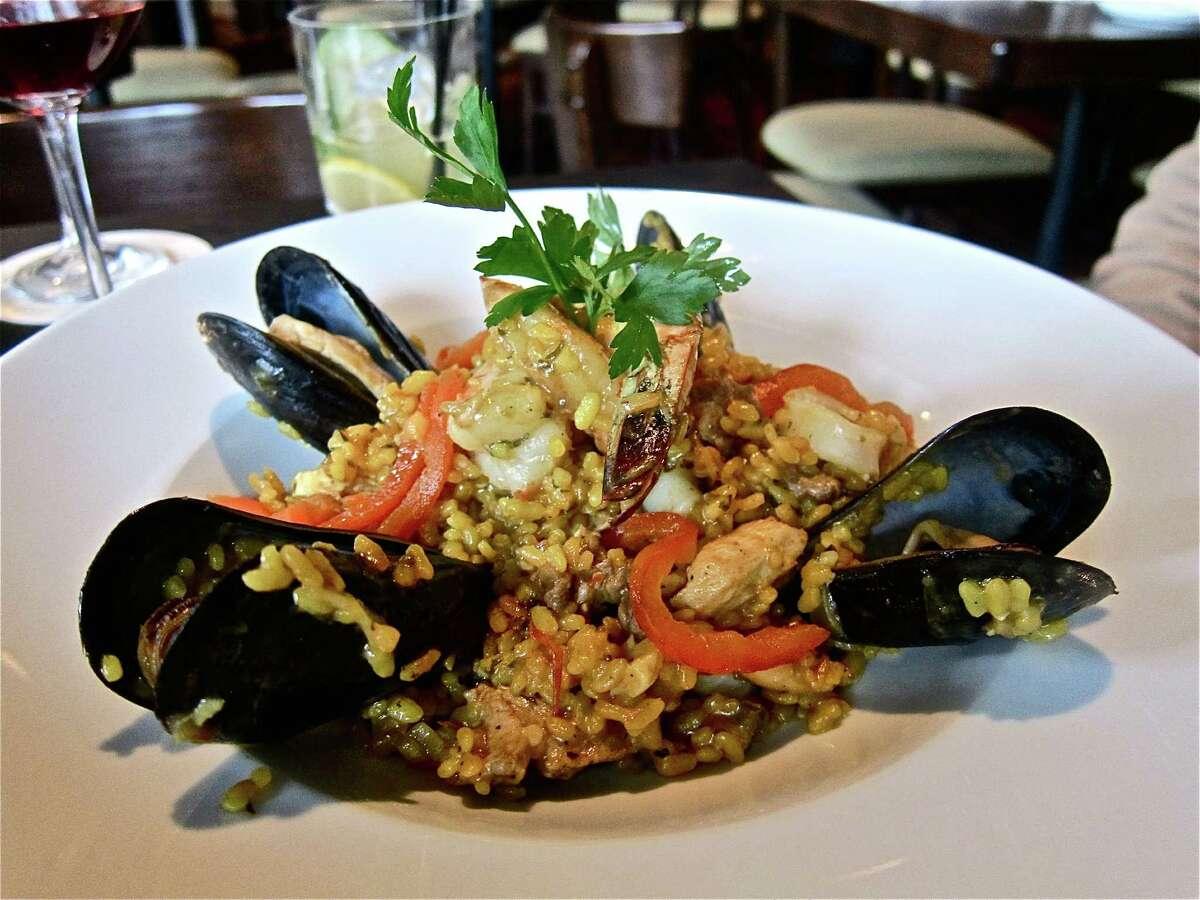 Paella made according to the recipe of Costa Brava Bistro owner Angeles Duenas' grandfather