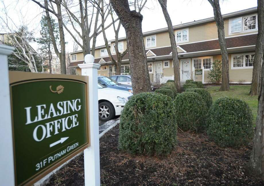 A leasing office sign at the Putnam Green apartment community in Western Greenwich, Tuesday, Jan. 8, 2013. Photo: Bob Luckey / Greenwich Time