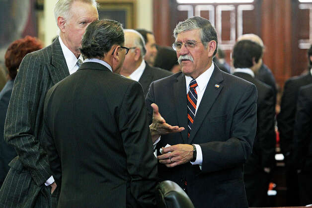 UTSA President Ricardo Romo  on the floor of the Senate before the opening of the 83rd Texas Legislature at the State Capitol in Austin, Tuesday, Jan. 8, 2013. Photo: Tom Reel, San Antonio Express-News / ©2012 San Antono Express-News