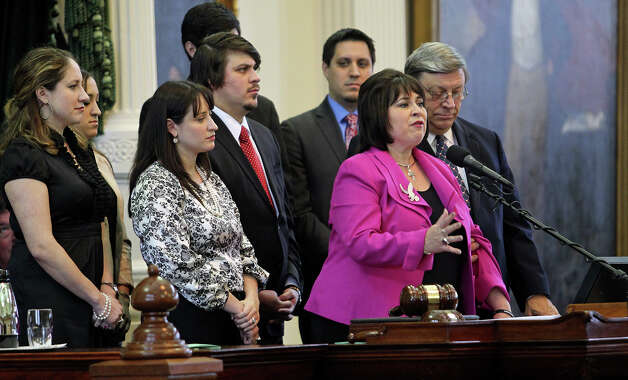 Senator Leticia Van de Putte speaks after being sworn in as president pro tempore of the Texas Senate during the opening of the 83rd Texas Legislature, Tuesday, Jan. 8, 2013, in Austin. Photo: Tom Reel, San Antonio Express-News / ©2012 San Antono Express-News