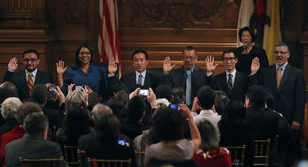 From left, David Campos, London Breed, David Chiu, Norman Yee, Eric Mar and John Avalos take oath of office during the swearing-in ceremony at the Board of Supervisors meeting in San Francisco, Calif. on Tuesday, Jan. 8, 2013. Photo: Paul Chinn, The Chronicle