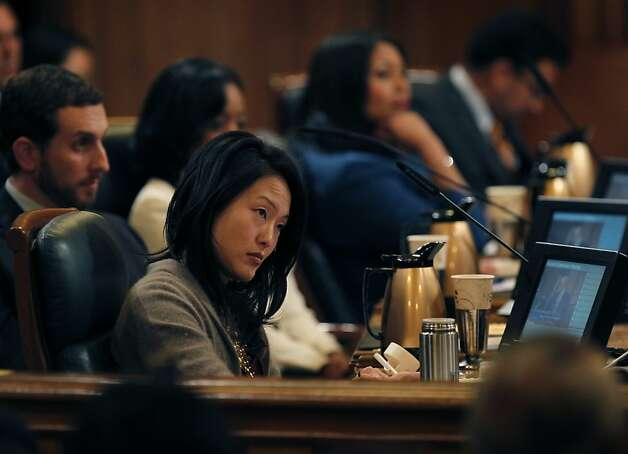 Supervisor Jane Kim withdrew her name from consideration, paving the way for David Chiu to be re-elected as president of the Board of Supervisors in San Francisco, Calif. on Tuesday, Jan. 8, 2013. Photo: Paul Chinn, The Chronicle