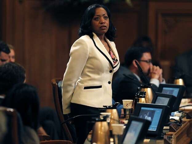 Supervisor Malia Cohen gave an emotional speech before withdrawing her name from consideration, paving the way for David Chiu to be re-elected as president of the Board of Supervisors in San Francisco, Calif. on Tuesday, Jan. 8, 2013. Photo: Paul Chinn, The Chronicle