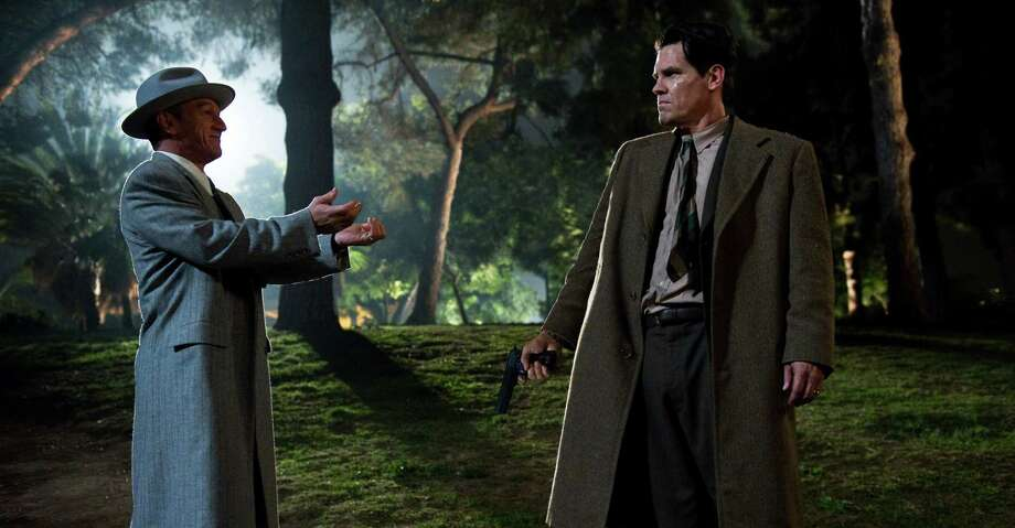 "This film image released by Warner Bros. Pictures shows Sean Penn, left, as Mickey Cohen and Josh Brolin, as Sgt. John O'Mara in ""Gangster Squad."" (AP Photo/Warner Bros. Pictures, Wilson Webb) Photo: Wilson Webb, Associated Press / Warner Bros. Pictures"