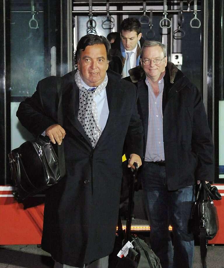 Ex-New Mexico Gov. Bill Richardson (left), Google Chairman Eric Schmidt arrive in Pyongyang, North Korea. Photo: Associated Press
