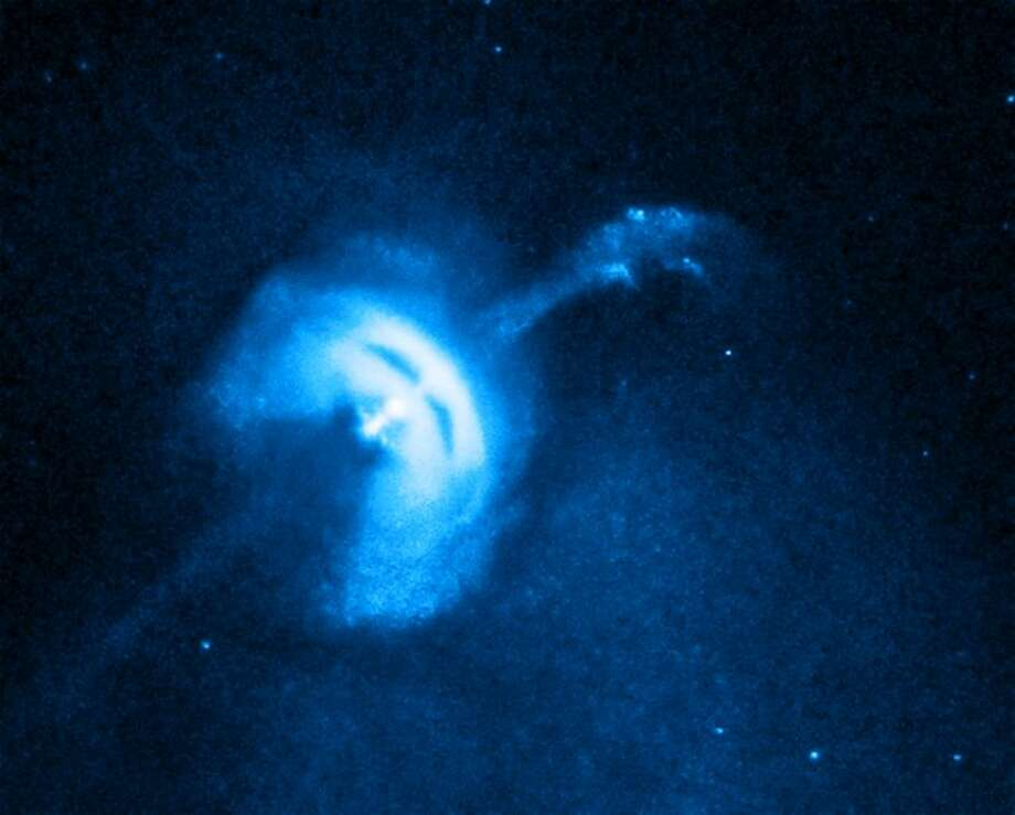 The Vela pulsar, a neutron star that was formed when a massive star collapsed. The jet of particles is 0.7 of a light year long.