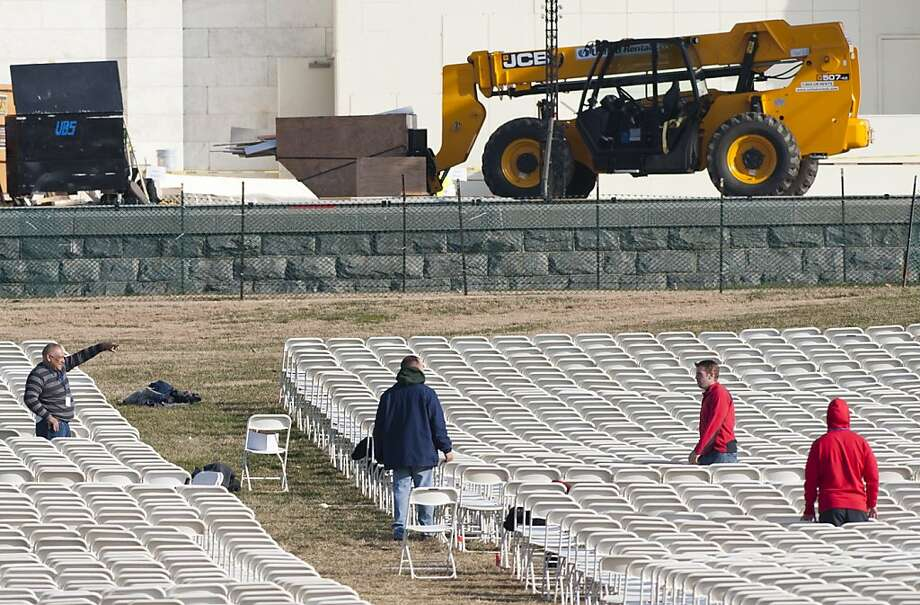 Setup is under way for the Jan. 21 inauguration. Obama limited contributions for his first inauguration, but not this time. Photo: Saul Loeb, AFP/Getty Images
