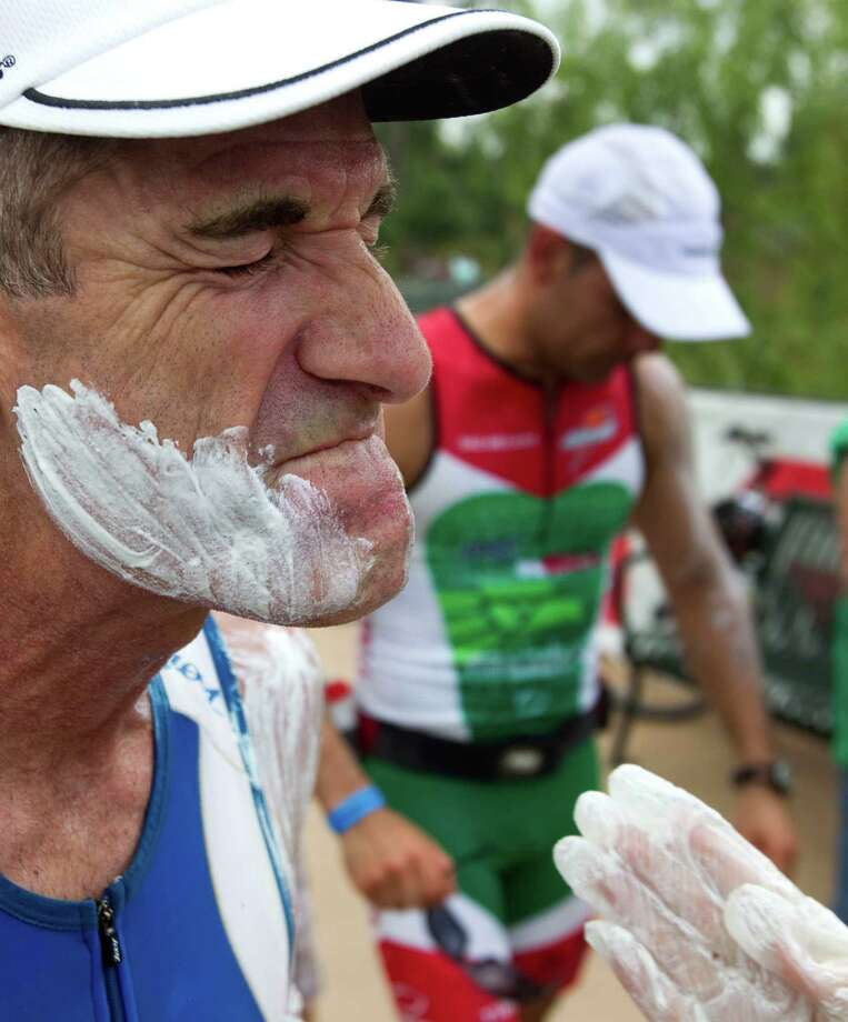 Rusty Robertson has sunscreen spread on his face as he gets ready to start his marathon during the Memorial Hermann Ironman Texas Saturday, May 21, 2011, in The Woodlands. ( Brett Coomer / Houston Chronicle ) Photo: Brett Coomer, Staff / © 2011 Houston Chronicle