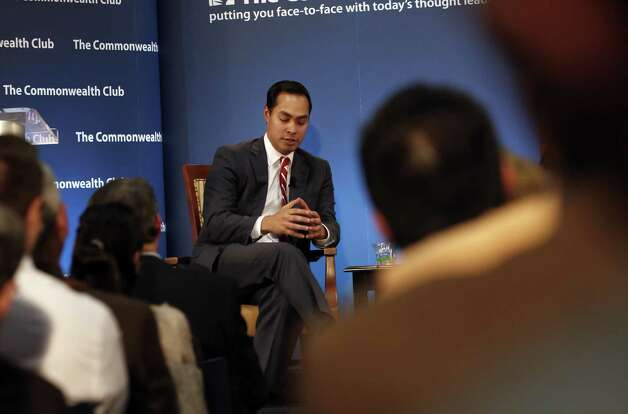 Julian Castro, mayor of San Antonio and democratic all-star, gestures as he speaks at the Commonwealth Club in San Francisco, Calif., on Monday, January 7, 2013. Along for the visit was his identical twin, Joaquin Castro. Photo: Carlos Avila Gonzalez, The Chronicle / ONLINE_YES