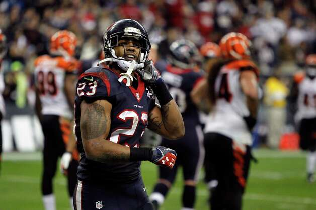 Arian Foster of the Houston Texans reacts after he scored a 1-yard rushing touchdown in the third quarter against the Cincinnati Bengals during their AFC Wild Card Playoff Game at Reliant Stadium on January 5, 2013 in Houston, Texas. Photo: Bob Levey, Getty Images / 2013 Getty Images