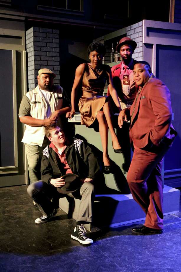 "Marie Warren Bunch (clockwise from center), Walter Sanders III, Edward Burkley, Bryan Hodges and Kenny Patterson star in the Woodlawn Theatre's staging of ""Memphis."" Photo: Courtesy Woodlawn Theatre"