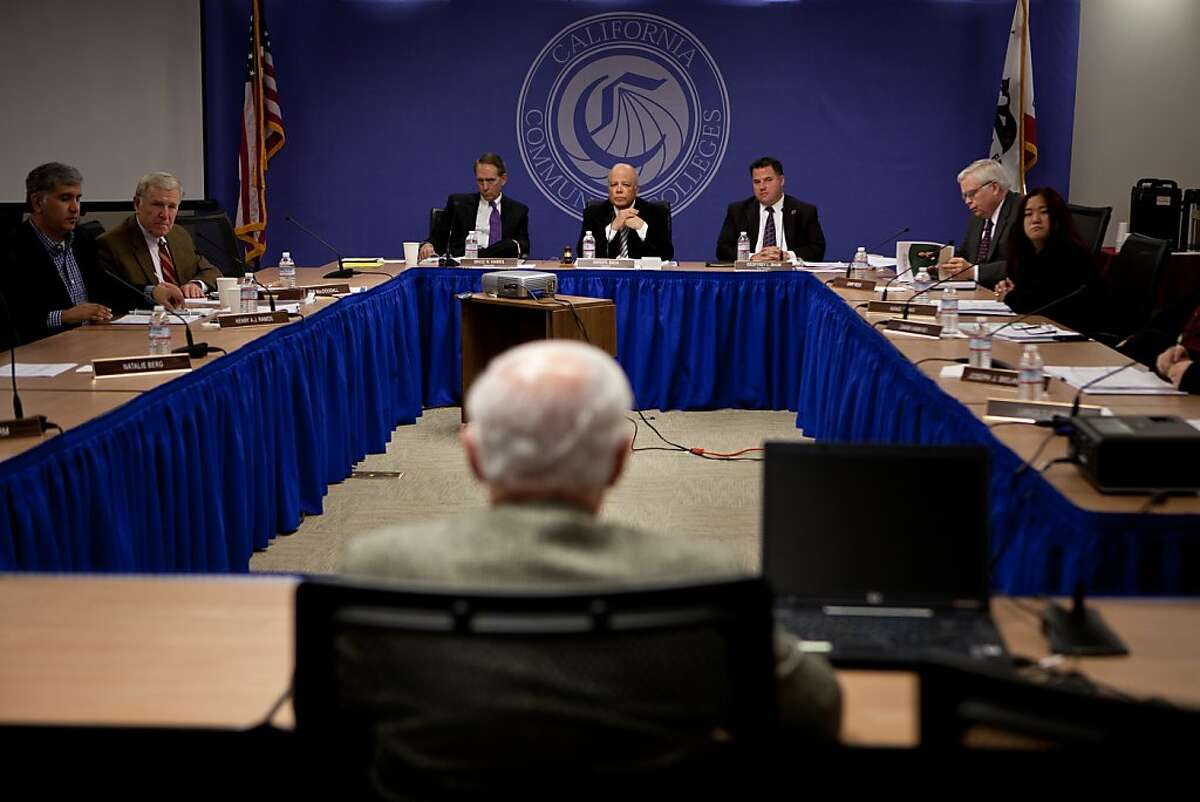 City College of San Francisco special trustee Robert Agrella delivers a report to the California's Community Colleges Board of Governor's meeting January 8, 2013 in Sacramento, Calif. Agrella has been appointed by the state to ensure that City College doesn't lose their accreditation.