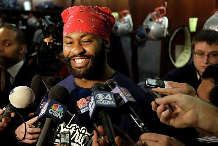 New England Patriots middle linebacker Brandon Spikes faces reporters in the team's locker room at Gillette Stadium following NFL football practice in Foxborough, Mass., Tuesday, Jan. 8, 2013. The Patriots host the Houston Texans on Sunday in ab AFC divisional playoff game. (AP Photo/Steven Senne) Photo: Steven Senne