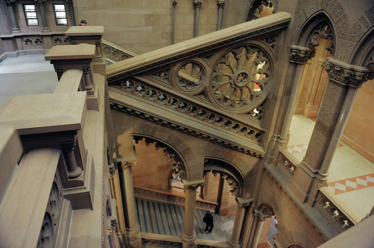 A view looking over the Senate staircase from the fourth floor at the Capitol on Tuesday, Jan. 8, 2013 in Albany, NY. (Paul Buckowski / Times Union)