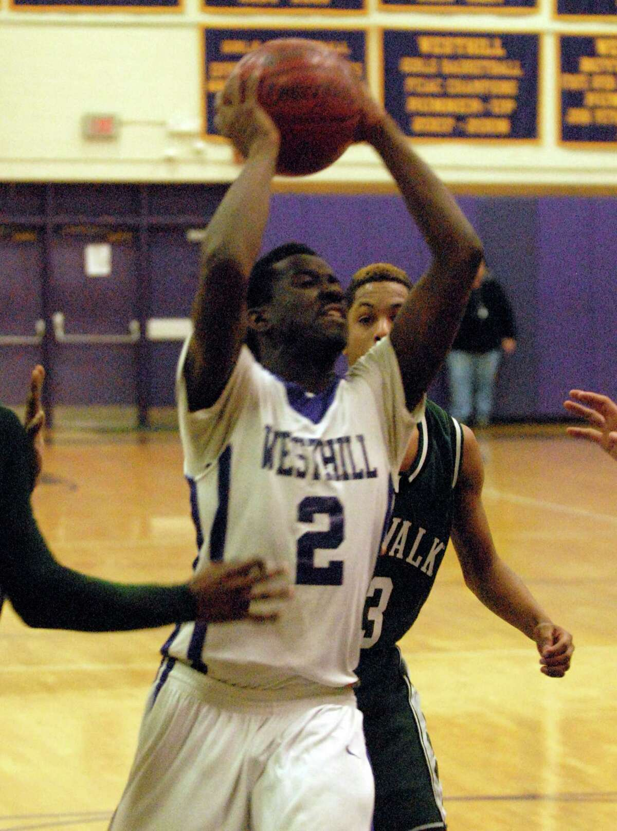 Westhill's Terrell Middleton in action as Westhill High School hosts Norwalk in a boys basketball game in Stamford, Conn., Jan. 8. 2013.