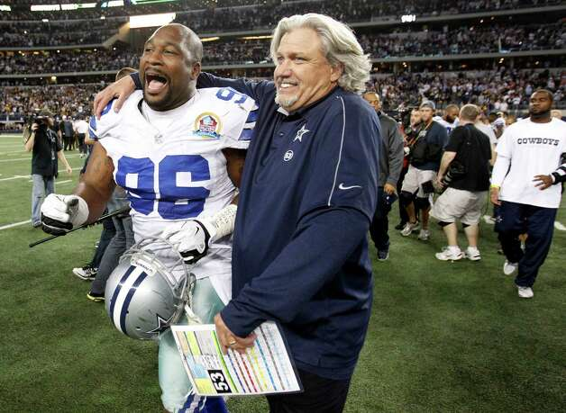 Dallas Cowboys defensive coordinator Rob Ryan and Dallas Cowboys defensive end Marcus Spears (96) celebrate as they make their way off the field after beating the Pittsburgh Steelers in overtime, 27-24, at Cowboys Stadium in Arlington, Texas, Sunday, December 16, 2012. (Vernon Bryant/Dallas Morning News/MCT) Photo: Vernon Bryant, McClatchy-Tribune News Service / Dallas Morning News