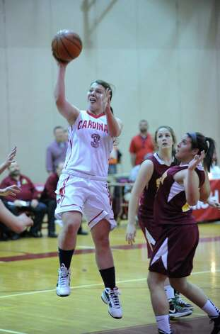 Caroline Barrett # 3 of Greenwich goes in for a layup during the girls high school basketball game between Greenwich and St. Joseph at Greenwich High School, Tuesday night, Jan. 8, 2013. Photo: Bob Luckey / Greenwich Time