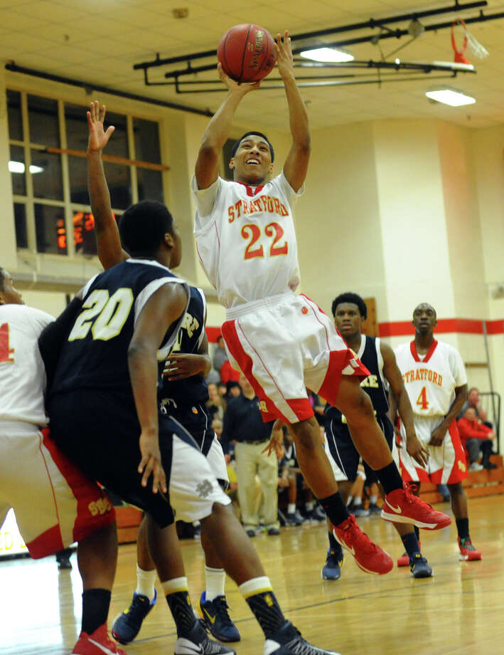 Stratford's Brian Lespearance looks for two points, during boys basketball action against Notre Dame of Fairfield in Stratford, Conn. on Tuesday January 8, 2013. Photo: Christian Abraham