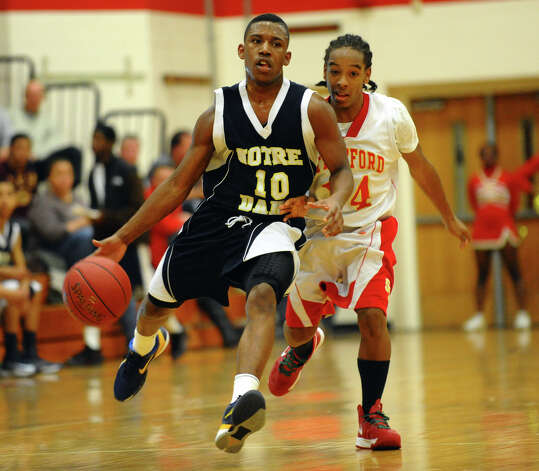 Notre Dame of Fairfield's #10 Daniel Upchurch, during boys basketball action against Stratford in Stratford, Conn. on Tuesday January 8, 2013. Photo: Christian Abraham / Connecticut Post