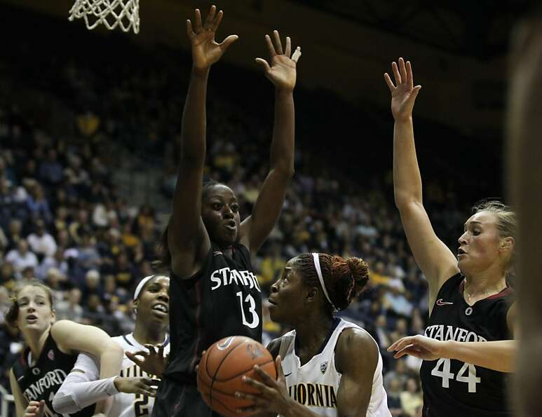 Stanford players guard California forward Gennifer Brandon (25) in the first half during an NCAA bas