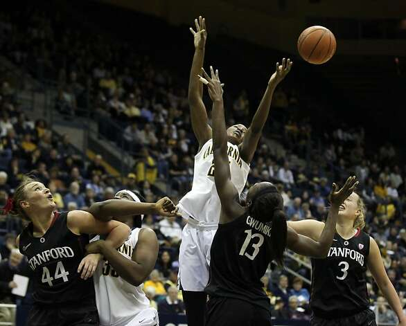 California forward Gennifer Brandon (25) center reaches for a rebound in the first half during an NCAA basketball game against Stanford Tuesday Jan 8, 1013, in Berkeley California. Photo: Lance Iversen, The Chronicle