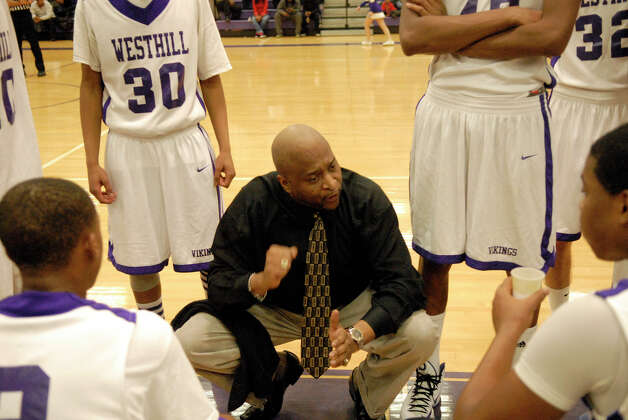 Westhill Coach Howard White speaks to the Vikings as Westhill High School hosts Norwalk in a boys basketball game in Stamford, Conn., Jan. 8. 2013. Photo: Keelin Daly / Stamford Advocate Riverbend Stamford, CT