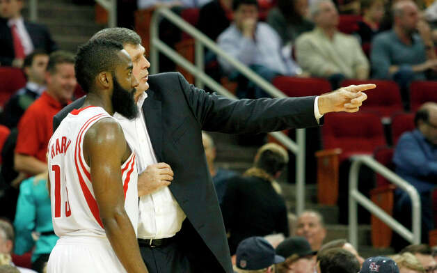 Rockets coach Kevin McHale instructs shooting guard James Harden during the fourth quarter. Photo: Johnny Hanson / © 2012  Houston Chronicle