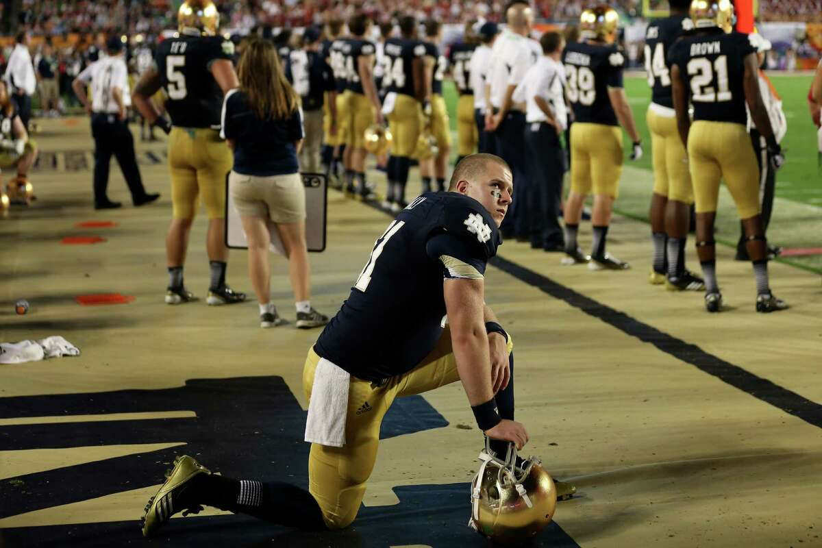 WORST GAME BCS title game: Sorry, Notre Dame fans. For all of the hype of the Irish's undefeated record, there were probably three or four teams that deserved playing Alabama more than them. And after the Irish fell behind 35-0 midway through the third quarter of an eventual 42-14 blowout, it showed. PHOTO: Notre Dame's Scott Daly (61) kneels near the bench near the end of the Discover BCS National Championship at Sun Life Stadium on Jan. 7, 2013 in Miami Gardens, Fla.
