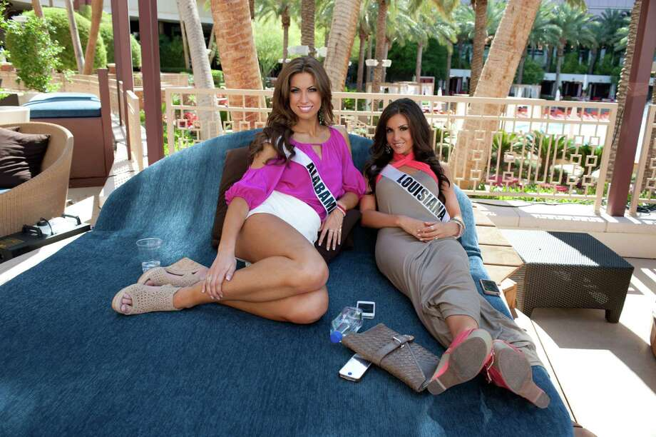 Miss Alabama USA 2012, Katherine Webb; and Miss Louisiana USA 2012, Erin Edmiston; pose for a photo poolside at the Red Rock Hotel, Nevada on Tuesday, May 22, 2012. Photo: Darren Decker, Miss Universe Organization / Miss Universe Organization
