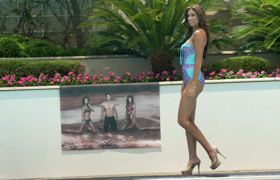 Miss Alabama USA 2012, Katherine Webb, walks the runway in her Kooey Australia Swimwear during the Kooey Australia Swimwear Fashion Show featuring the Miss USA 2012 Contestants at the Trump Tower in Las Vegas, Nevada on Wednesday, May 23, 2012. Photo: Patrick Prather, Miss Universe Organization / PATRICK PRATHER
