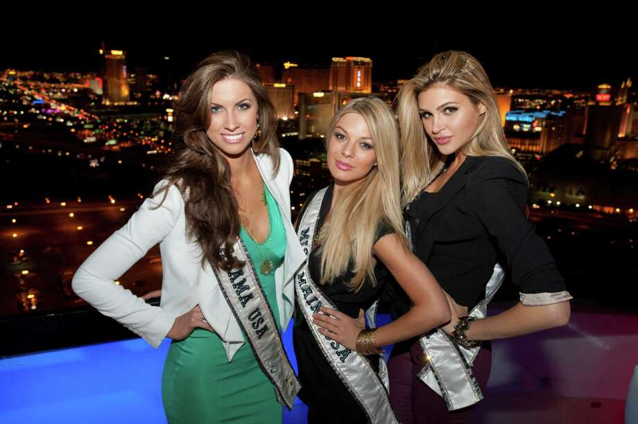 Miss Alabama USA 2012, Katherine Webb; Miss Maine USA 2012, Rani Williamson; and Miss California USA 2012, Natalie Pack; pose for a photo with the Las Vegas skyline at the Voodoo Lounge in the Rio Hotel and Casino in Las Vegas, Nevada on Sunday, May 27, 2012. Photo: Darren Decker, Miss Universe Organization / Miss Universe Organization