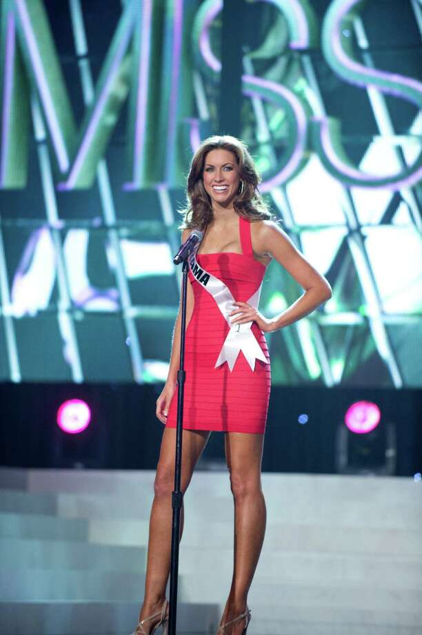 Miss Alabama USA 2012, Katherine Webb introduces herself in her fashion by Sherri Hill and shoes by Chinese Laundry during the 2012 Miss USA Presentation Show on Wednesday, May 30, 2012. Photo: Greg Harbaugh, Miss Universe Organization / Miss Universe Organization