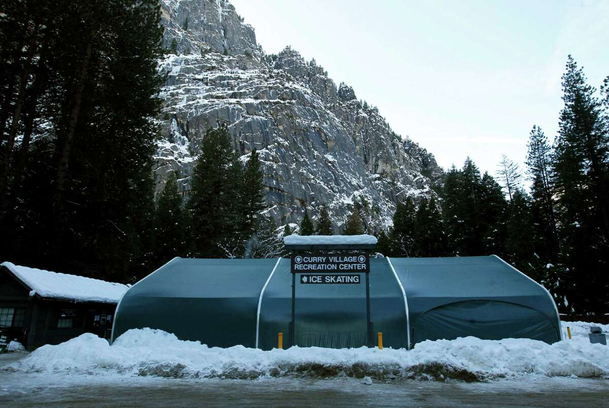 The Curry Village ice rink in Yosemite Valley.Curry Villageis run by Delaware North, which says it owns the name as well as others linked to Yosemite National Park, a claim disputed by the National Park Service.