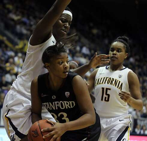 California center Talia Coldwell (33) guards Stanford Amber Orrange in the second half during an NCAA basketball game against Stanford Tuesday Jan 8, 1013, in Berkeley California. Stanford won 62-53 Photo: Lance Iversen, The Chronicle