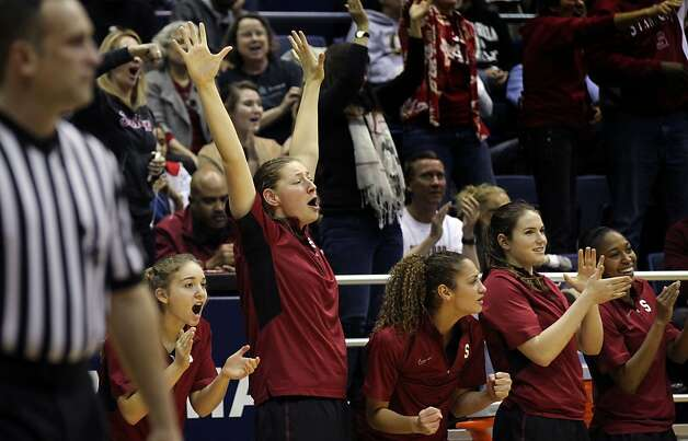 The Stanford bench comes alive after they took the lead against California  in the second half during an NCAA basketball game Tuesday Jan 8, 1013, in Berkeley California. Stanford won 62-53 Photo: Lance Iversen, The Chronicle