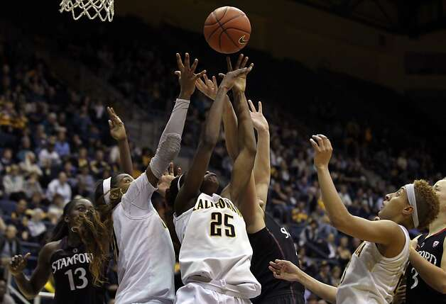 California forward Gennifer Brandon (25) lfights for a rebound in the second half during an NCAA basketball game against Stanford Tuesday Jan 8, 1013, in Berkeley California. Stanford won 62-53 Photo: Lance Iversen, The Chronicle