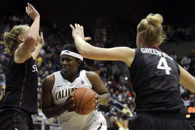California center Talia Coldwell (33) drives to the basket in the first half during an NCAA basketball game against Stanford Tuesday Jan 8, 1013, in Berkeley California. Stanford won 63-53 Photo: Lance Iversen, The Chronicle