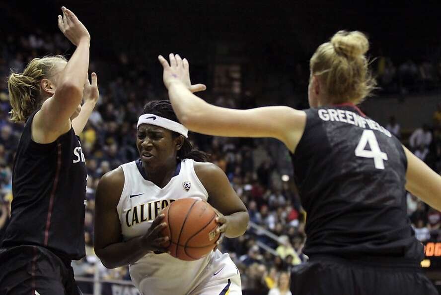 California center Talia Coldwell (33) drives to the basket in the first half during an NCAA basketba