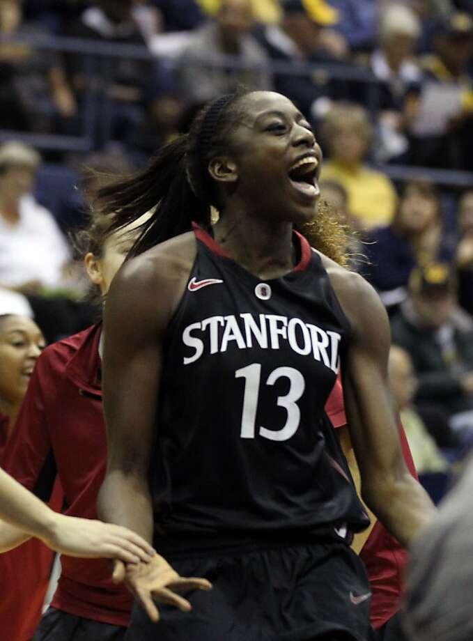 Stanford Chiney Ogwumike (13) celebrates with her teamamtes in the first half during an NCAA basketball game against California Tuesday Jan 8, 1013, in Berkeley California. Stanford won 62-53 Photo: Lance Iversen, The Chronicle