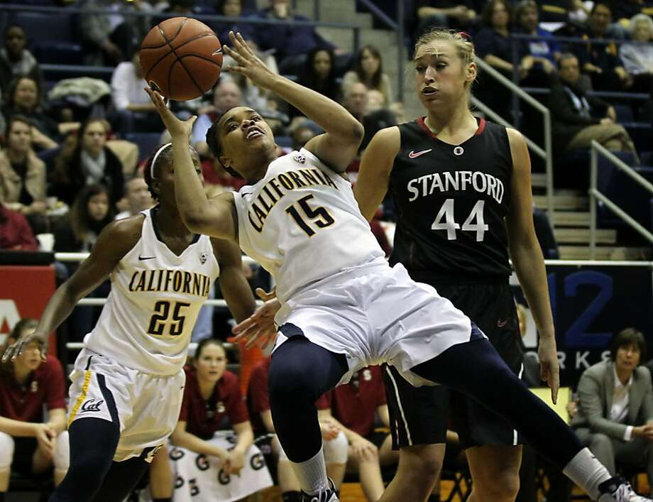 California guard Brittany Boyd (15) falls while shooting in the first half during an NCAA basketball game against Stanford Tuesday Jan 8, 1013, in Berkeley California. Photo: Lance Iversen, The Chronicle