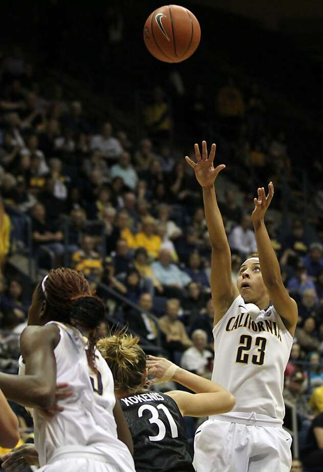 California guard Layshia Clarendon (23) scores two points in the first half during an NCAA basketball game against Stanford Tuesday Jan 8, 1013, in Berkeley California. Photo: Lance Iversen, The Chronicle