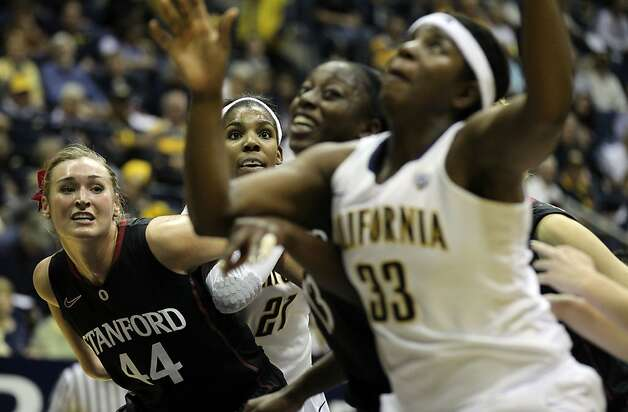 California and Stanford players fight for position under the basket during an NCAA basketball game Tuesday Jan 8, 1013, in Berkeley California. Photo: Lance Iversen, The Chronicle